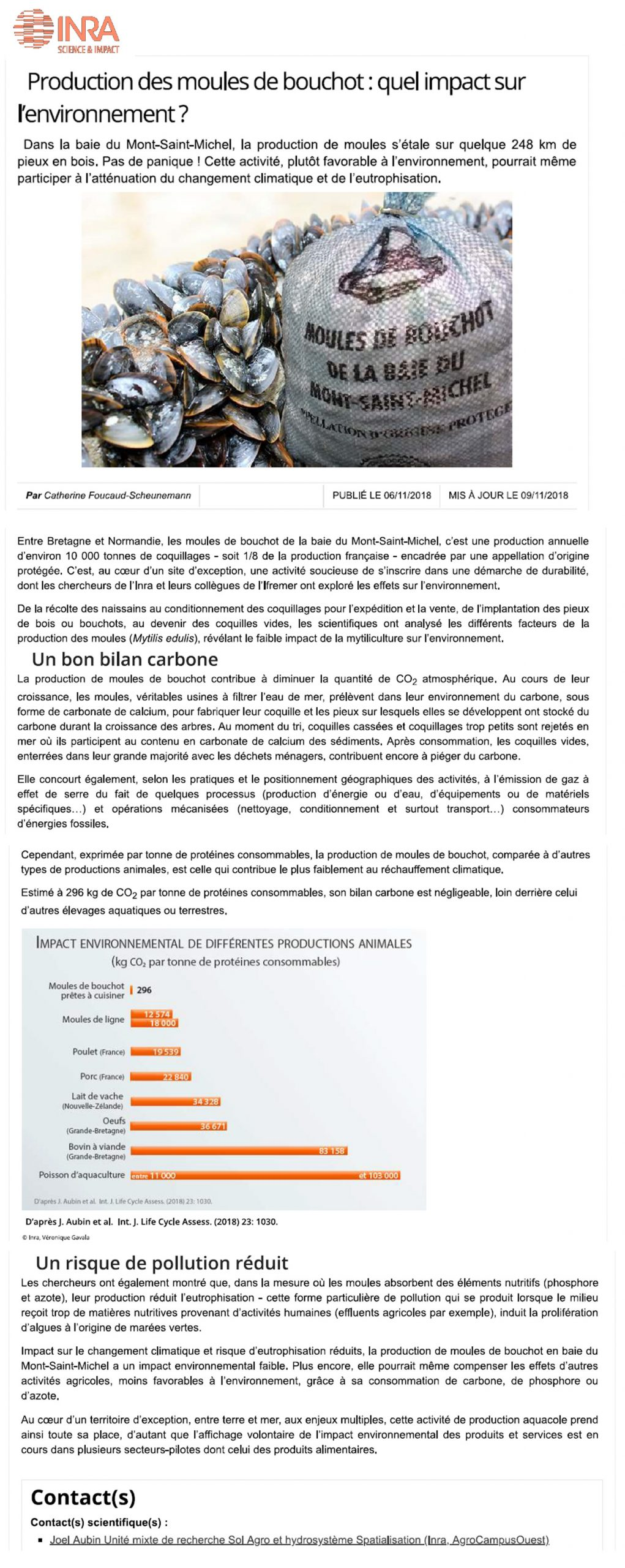 2018 11 06 Impact Environnemental Article site INRA site